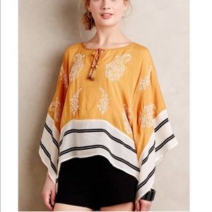 Anthropologie Floreat Embroidered Poncho Top